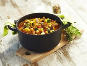 recette cocotte en font curry d'aubergines pois chiches